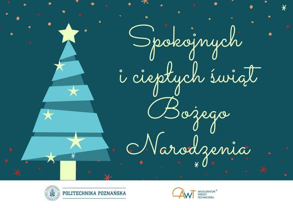"""Karta świąteczna z życzeniami """"Spokojnych i ciepłych świąt Bożego Narodzenia"""", obrazek dekoracyjny."""